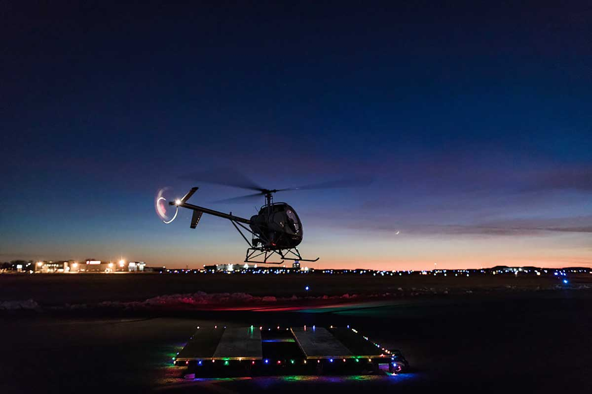 helicopter flight evening